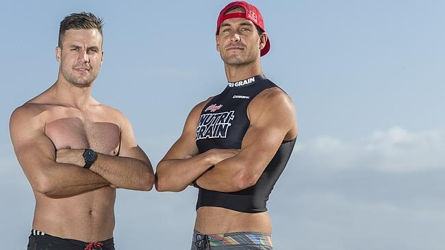 Beau Ryan and Matt Poole participate in the Nutri-Grain Sports Star Showdown. image source - News Corp
