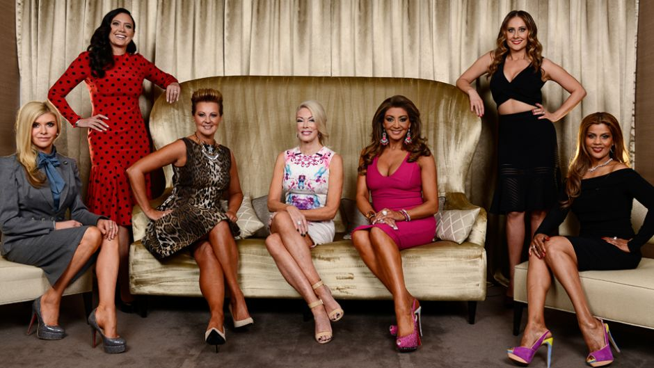 The Real Housewives of Melbourne S2 -  From left to right, Gamble Breaux, Lydia Schiavello, Chyka Keebaugh, Janet Roach, Gina Liano, Jackie Gillies, Pettifleur Berenger  image source - Arena
