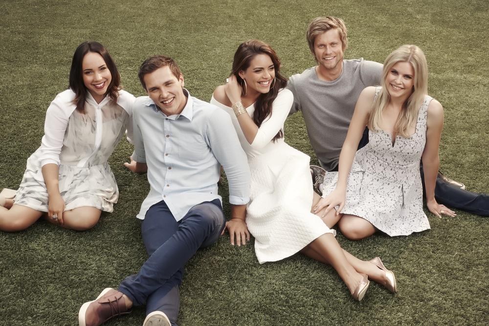 Neighbours stars -Ariel Kaplan, Harley Bonner, Olympia Valance, Tim Phillipps, and Jenna Rosenow. image - supplied/Ten