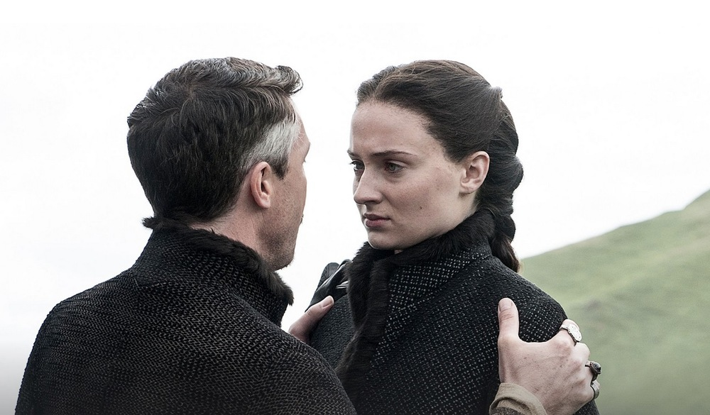 Sansa and Petry Baelish head north, where Littlefinger tells her she can no longer be a bystander to tragedy.   image copyright - HBO