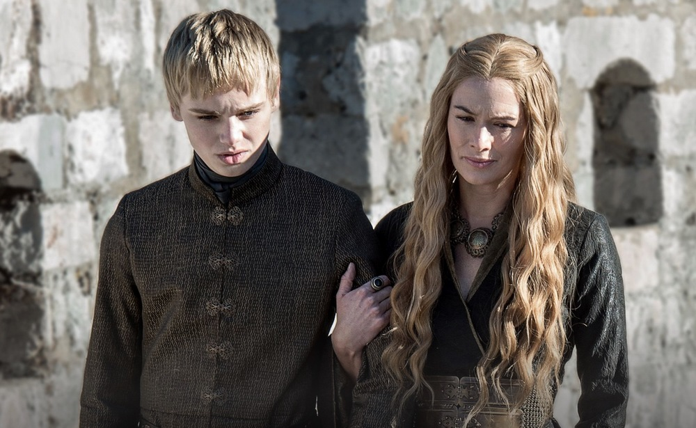 King Tommen with his mother Cersei  image copyright - HBO
