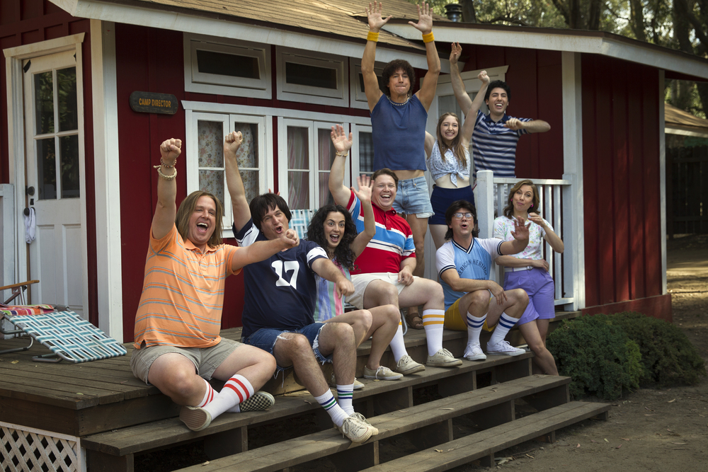 "L-R: Zak Orth, Michael Showalter, Ken Marino, Joe Lo Truglio and Nina Hellman in the Netflix original series ""Wet Hot American Summer: First Day Of Camp"". Photo by: Saeed Adyani/Netflix."