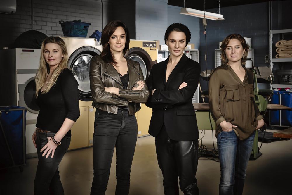 Tammy MacIntosh (plays Kaz Proctor),Nicole da Silva (plays Franky Doyle),Danielle Cormack (plays Bea Smith) and Libby Tanner (plays Bridget Westfall). Photo: Foxtel, Ben King.
