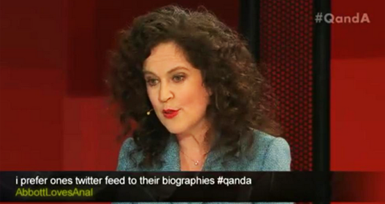 An unfortunate username from last nights Q&A image copyright - ABCTV