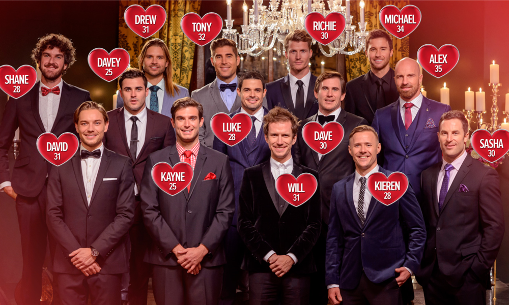 The 14 Bachelors competing for the affection of Sam Frost. image - supplied/Ten