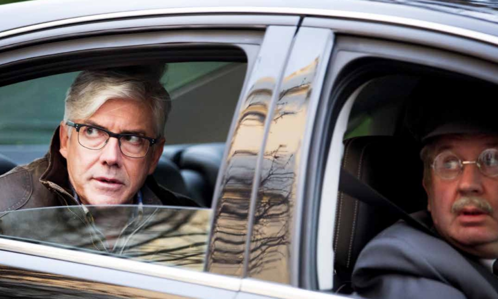 Shaun Micallef stars as former PM Adrew Dugdale, with Francis Greenslade along for the ride.  image - supplied/ABCTV