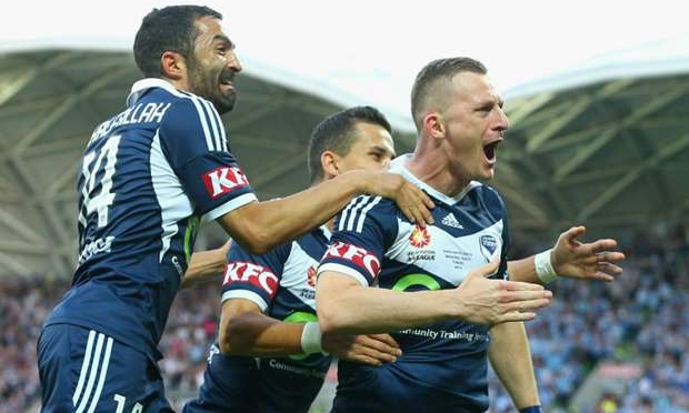 Melbourne Victory celebrates winning the 2014-15 A-League Championship. image copyright  - Getty Images
