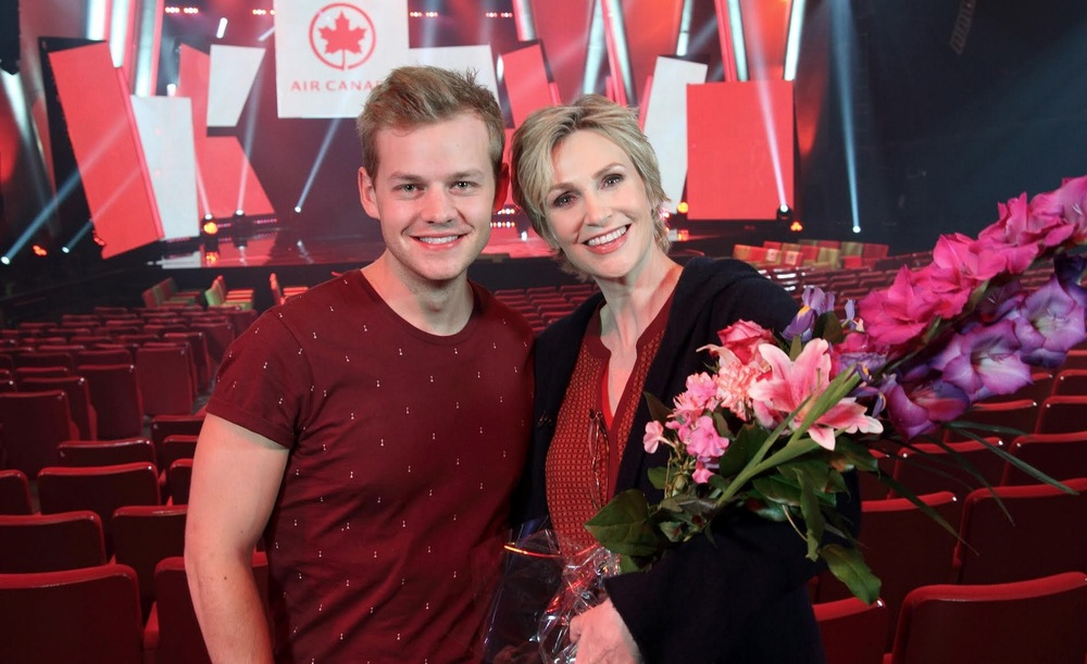 Joel Creasey with Jane Lynch image - supplied/Ten