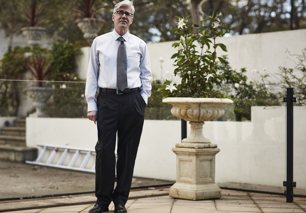 Shaun Micallef stars as Andrew Dugdale in The Ex-PM. image - supplied/ABC