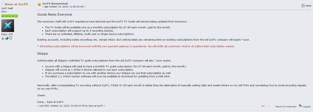 IceTV forums screenshot announcing the revival