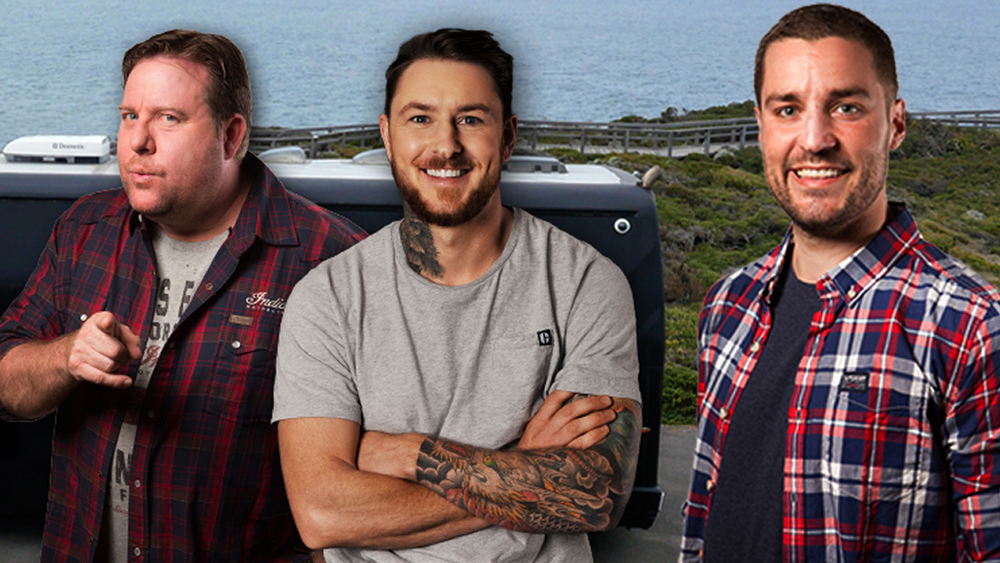 Shane Jacobson, Dale Vine and Dan Anstey return with ManSpace.  image - supplied/Nine
