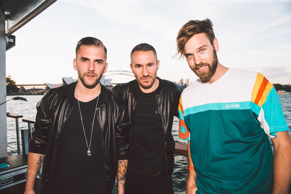 Christian Karlsson and Linus Eklöw from Galantis with Danny Clayton [V].   image - Oliver Minnett image source - Foxtel