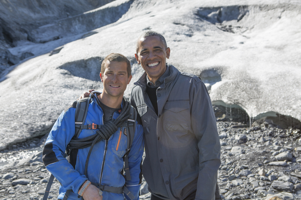 Bear Grylls with President Barack Obama image - supplied/Discovery
