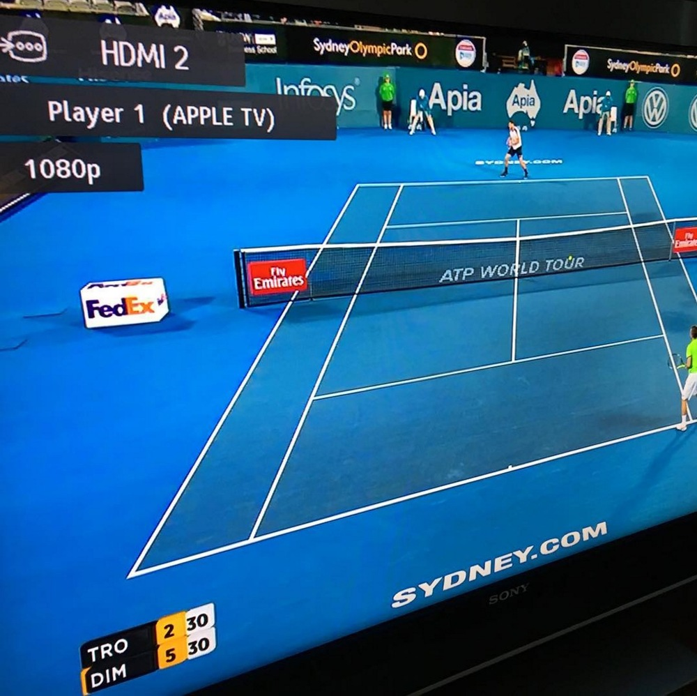 A demonstration of Seven's HD Tennis coverage delivered via AppleTV. image source - Craig Pickersgill - Instagram
