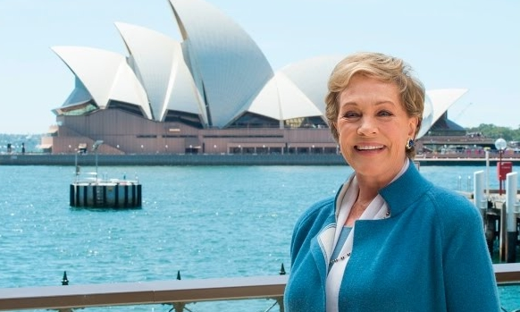 Dame Julie Andrews in Sydney promoting My Fair Lady. image source myfairlady.com.au
