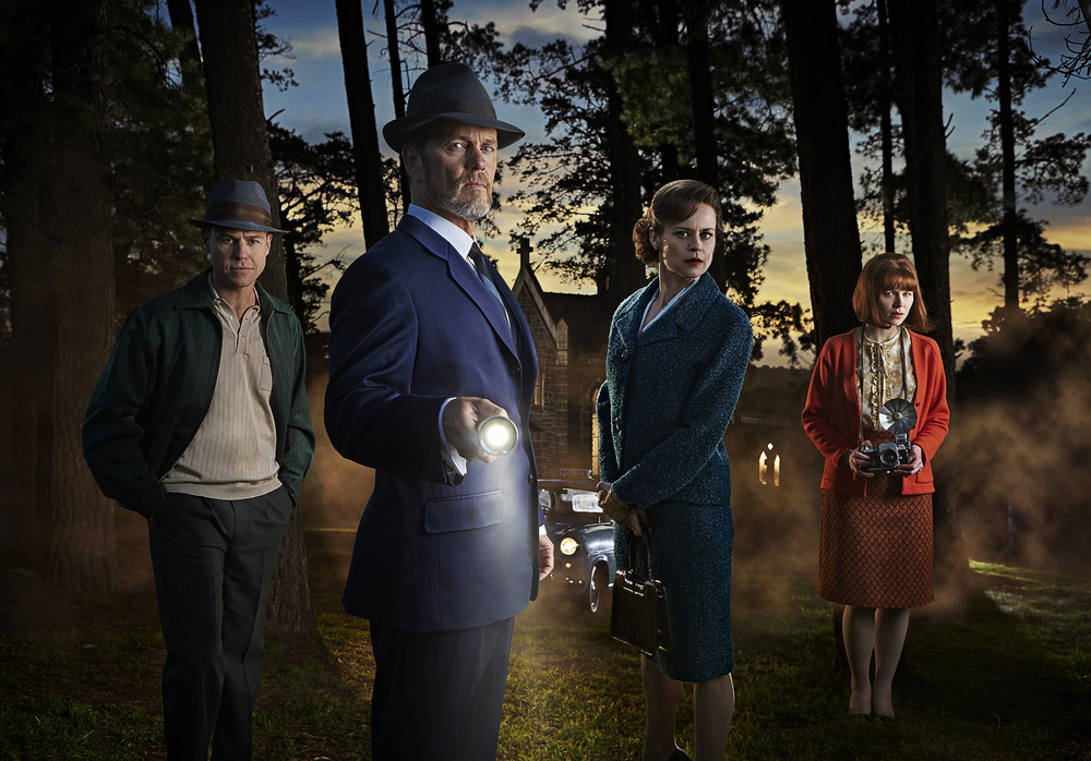 Rodger Corser, Craig McLachlan, Nadine Garner and Anna McGahan star in a new season of The Dr Blake Mysteries. image - supplied/ABCTV