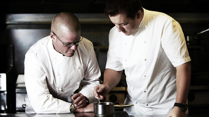 Heston Blumenthal and Ashley Palmer-Watts.  Photographer: Eddie Judd (SBS Food)