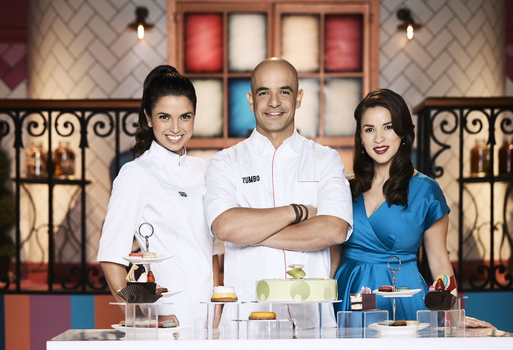 Gigi Falanga with Adriano Zumbo and Rachel Khoo  image - supplied/Seven Network