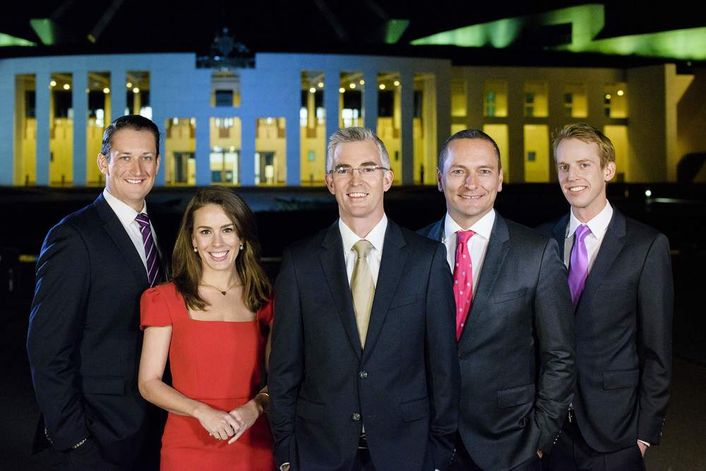 The Sky News Canberra Political Team - Dan Bourchier, Laura Jayes, David Speers, Kieran Gilbert and Tom Connell.  image - supplied/Sky News Australia