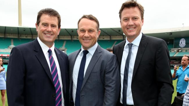 Channel Nine commentators Mark Taylor, Michael Slater and James Brayshaw  image source - News Corp