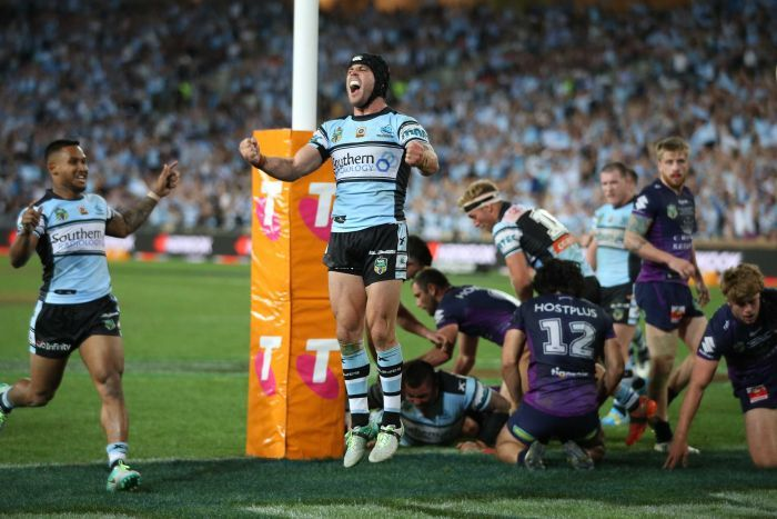 Cronulla Sharks claim victory over the Storm image source - abc.net.au