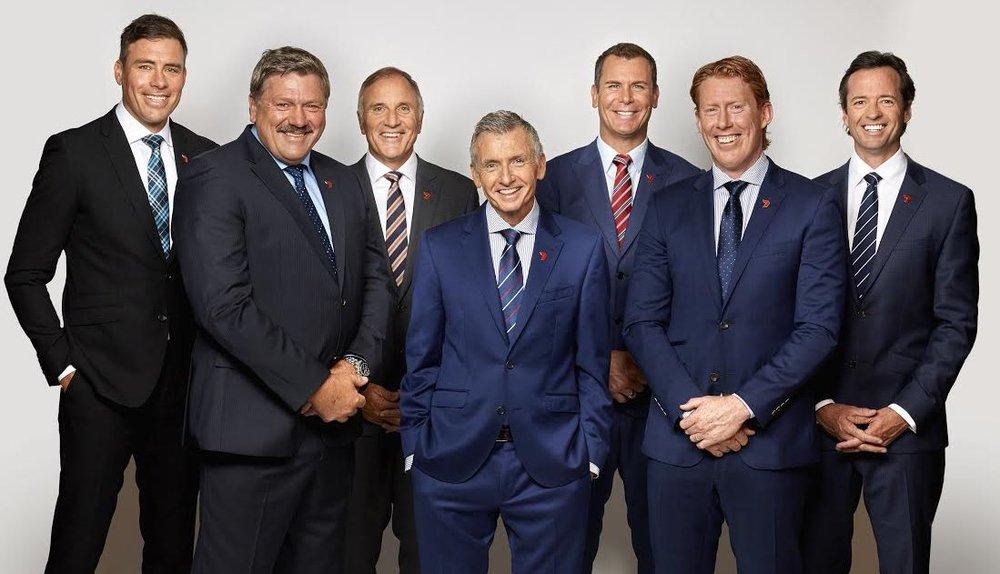 Matthew Richardson, Brian Taylor, Tim Watson, Bruce McAvaney, Wayne Carey, Cameron Ling and Hamish McLachlan image - Seven