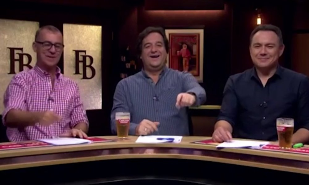 Andy Maher, Mick Molloy and Sam Pang having fun on The Front Bar  image - Seven