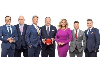 Craig Hutchison and Rebecca Maddern lead The Footy Show in 2017.  image - Nine