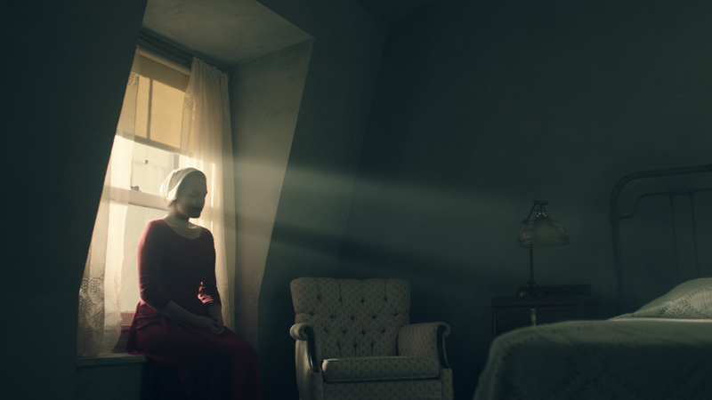 Offred (Elisabeth Moss) in The Handmaids Tale  Image - SBS