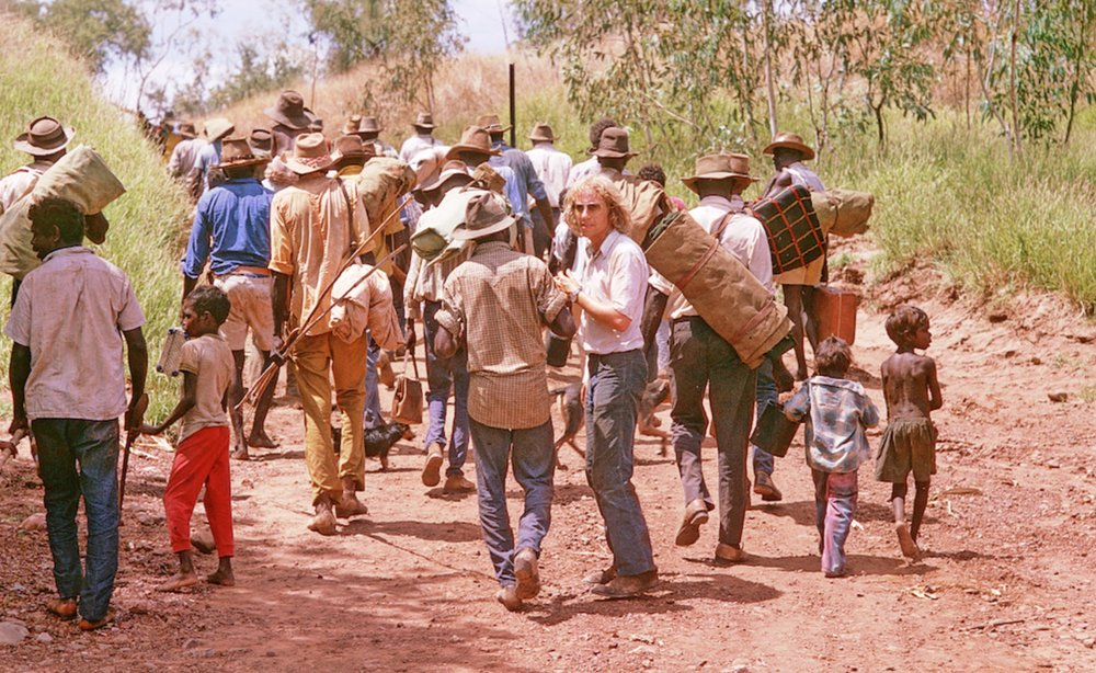 The filmmaker John Goldschmidt and the re-enactment of the Gurindji Walkout from the Vestey's cattle station at Wave Hill in 1966   image - ABC