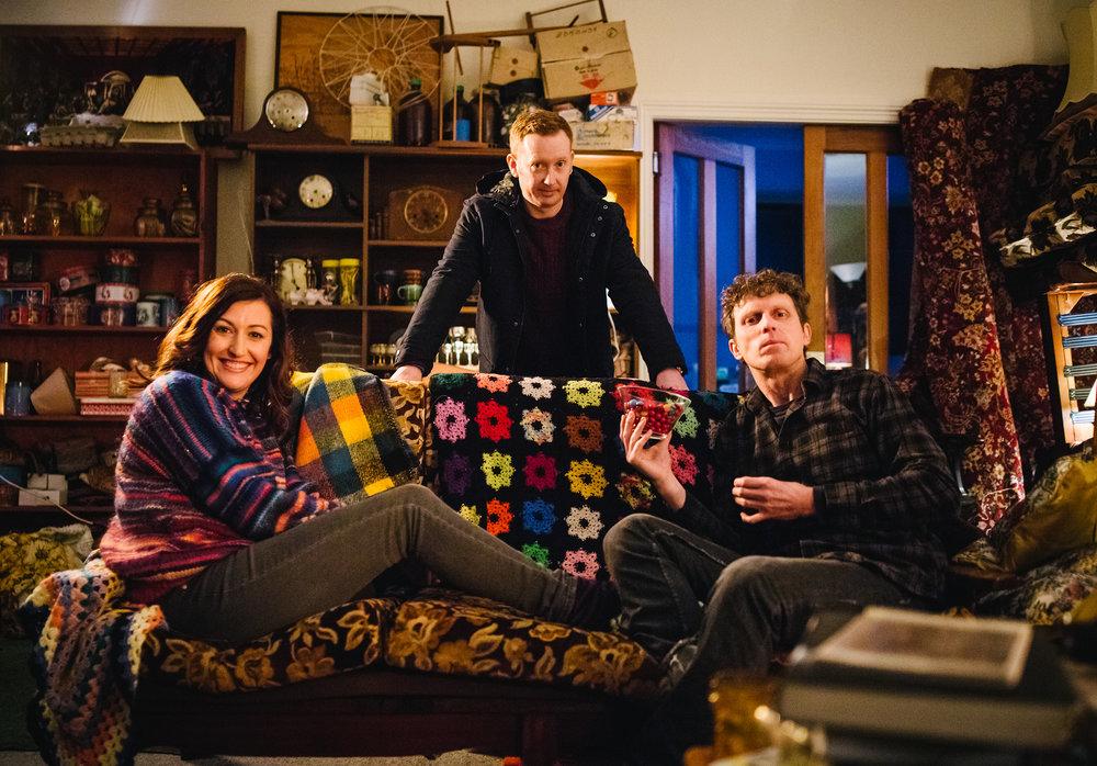 Emma (Celia Pacquola), Daniel (Luke McGregor) & Damien (David Quirk) - Rosehaven S02  Image - ABC