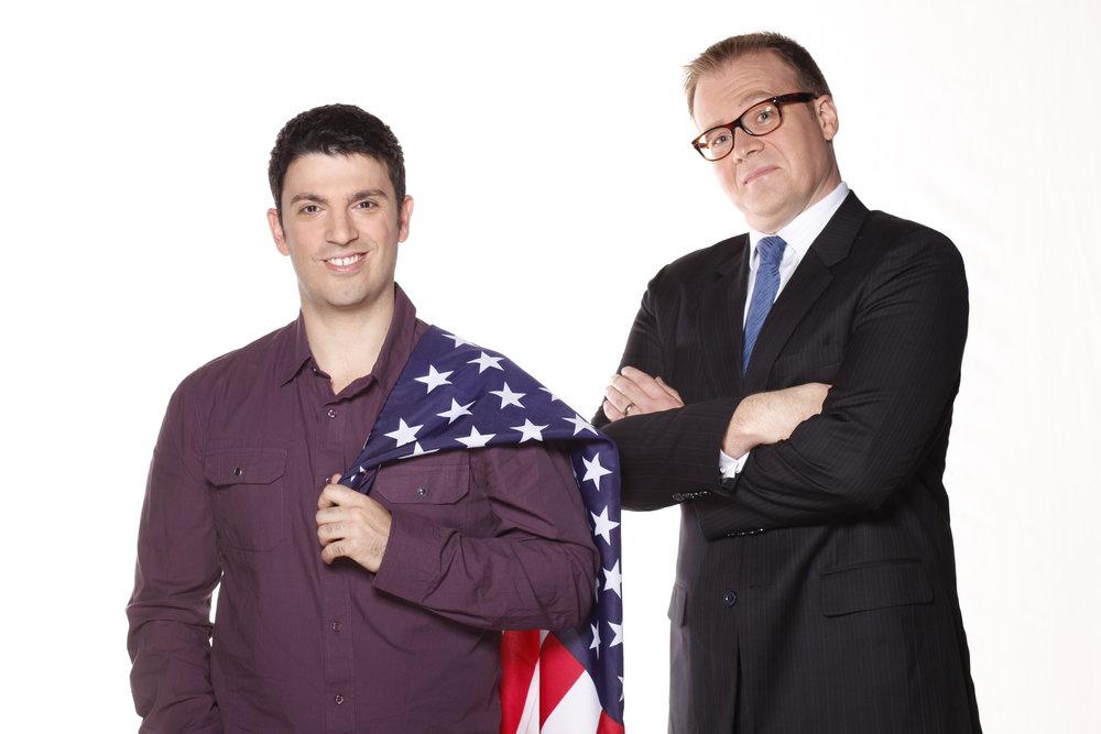 Chas Licciardello & John Barron host Planet America  Image - ABC
