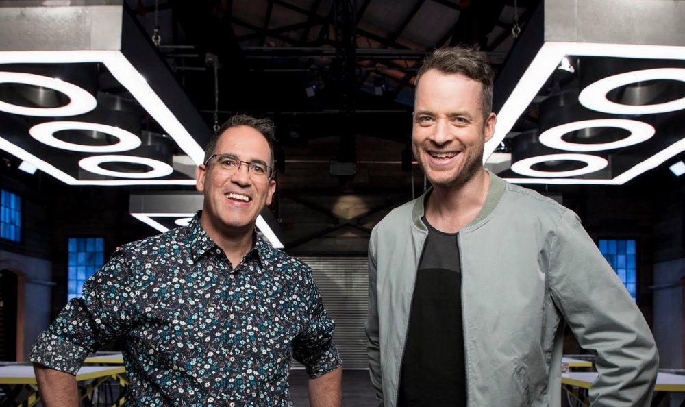 "LEGO expert Ryan ""The Brickman"" McNaught with host Hamish Blake.  images - NINE"