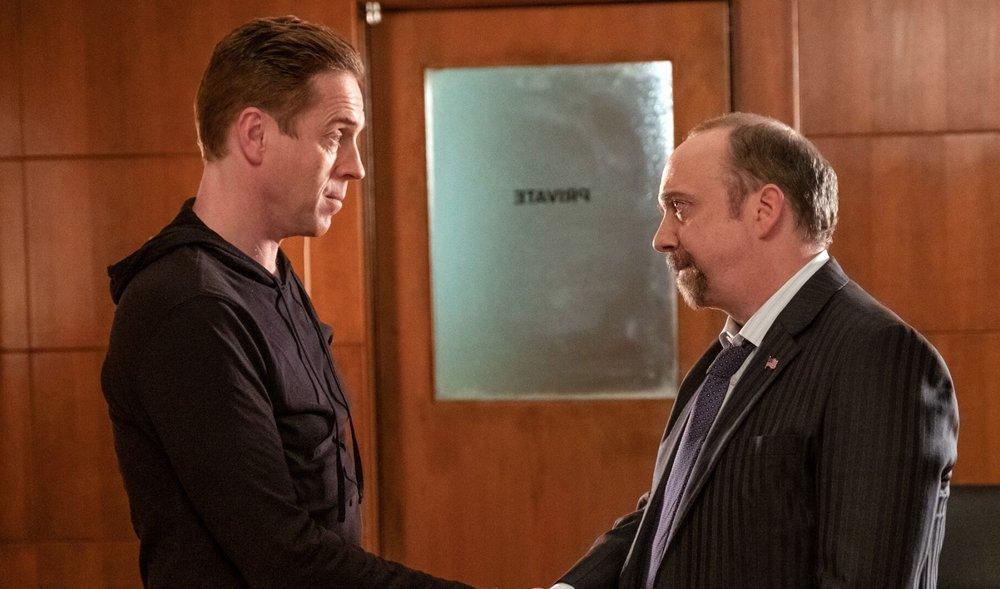 Damian Lewis and Paul Giamatti in BILLIONS season 4.  image - STAN