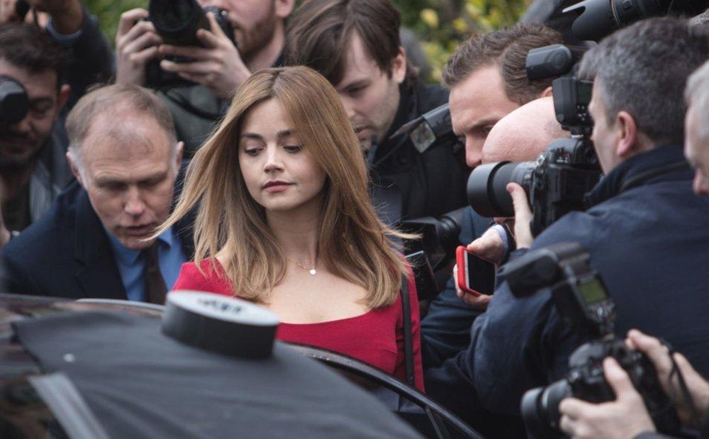 Joanna (Jenna Coleman) mobbed by media