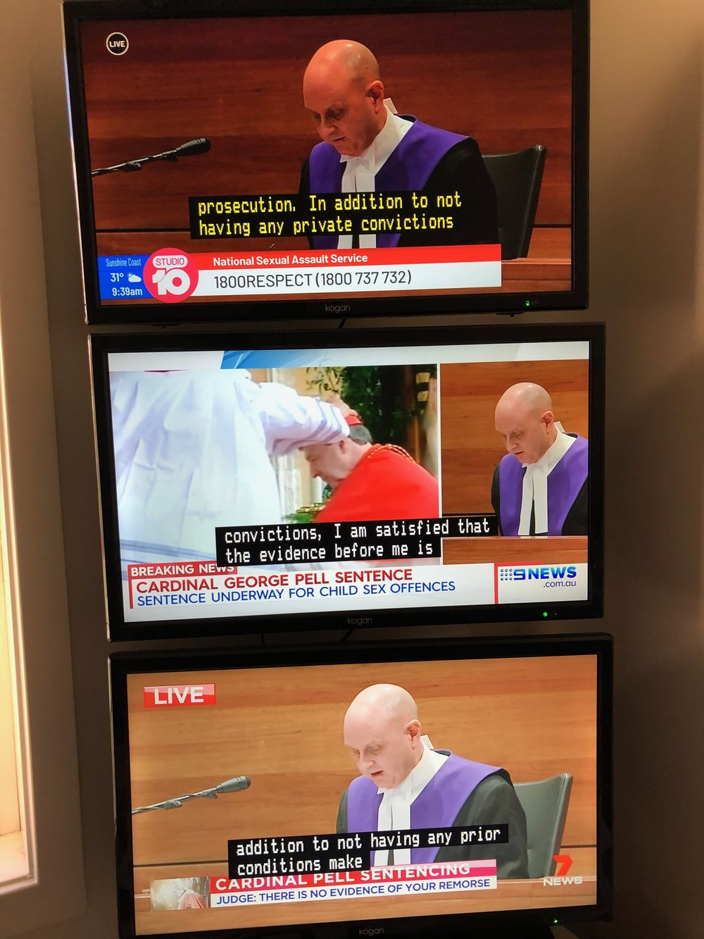 A view of the commercial TV coverage of the George Pell sentencing in the  McKnight Tonight  studio.
