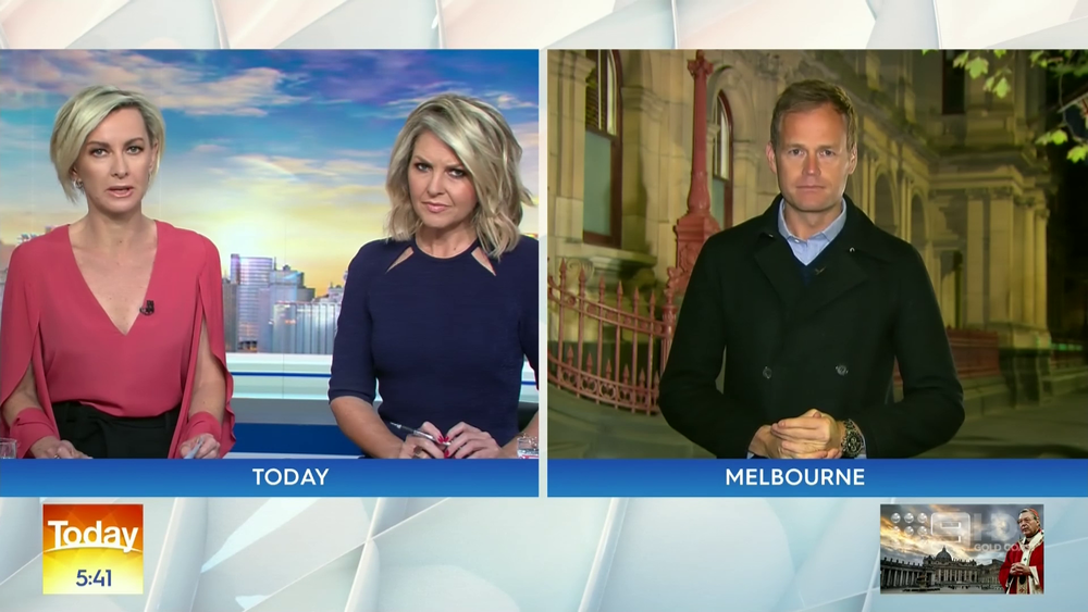 Deb Knight and Georgie Gardner crossing to Tom Steinfort