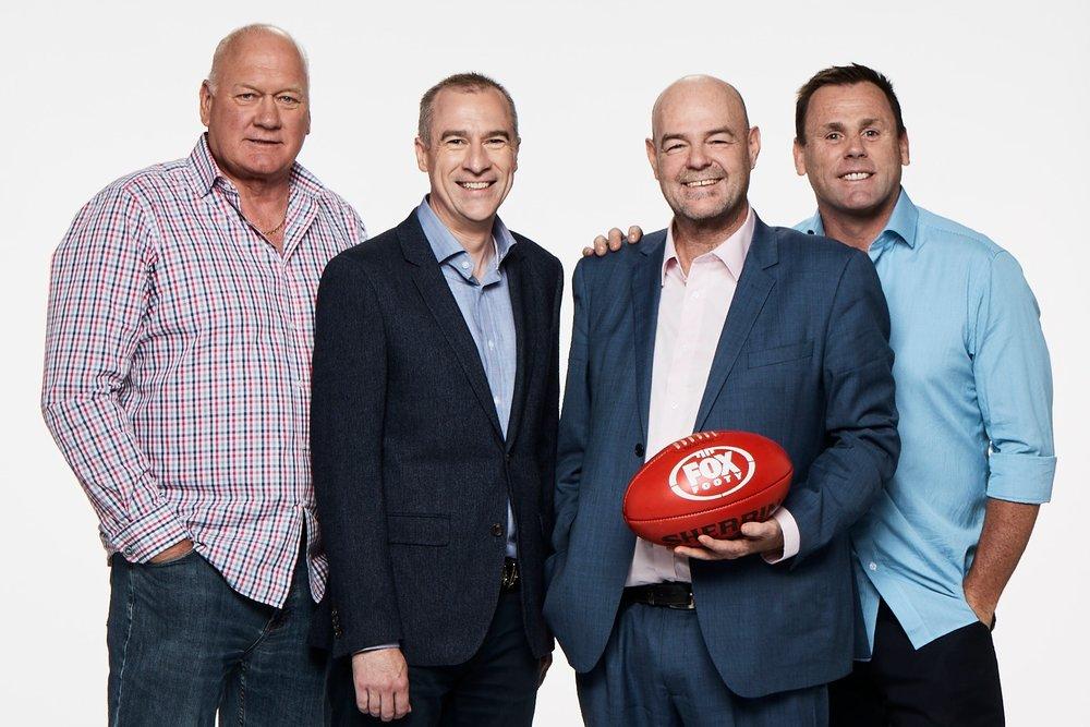 Mark McLure ,  Gerard Whateley, Mark 'Robbo' Robinson and David King  image - Fox Footy