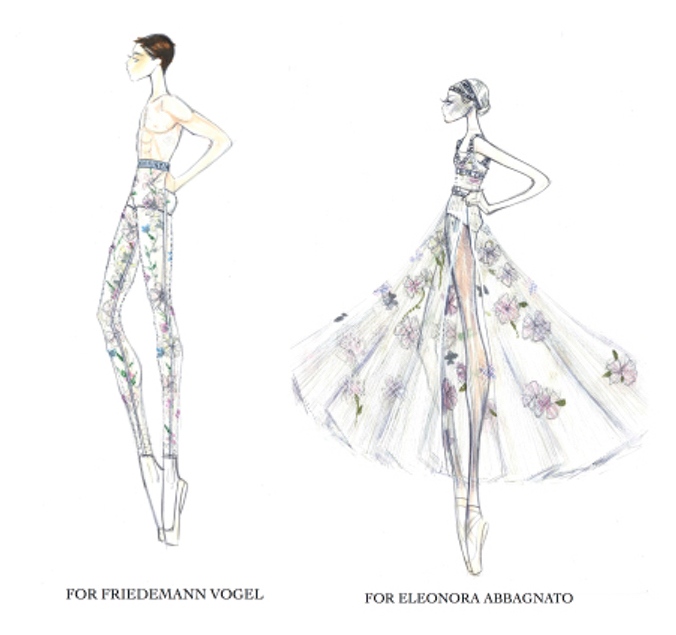 Sketches from Dior's Maria Grazia Chiuri for Nuit Blanche