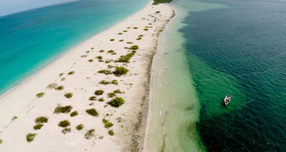 Sandbar separating the Caribbean Sea from Codrington Lagoon, Barbuda