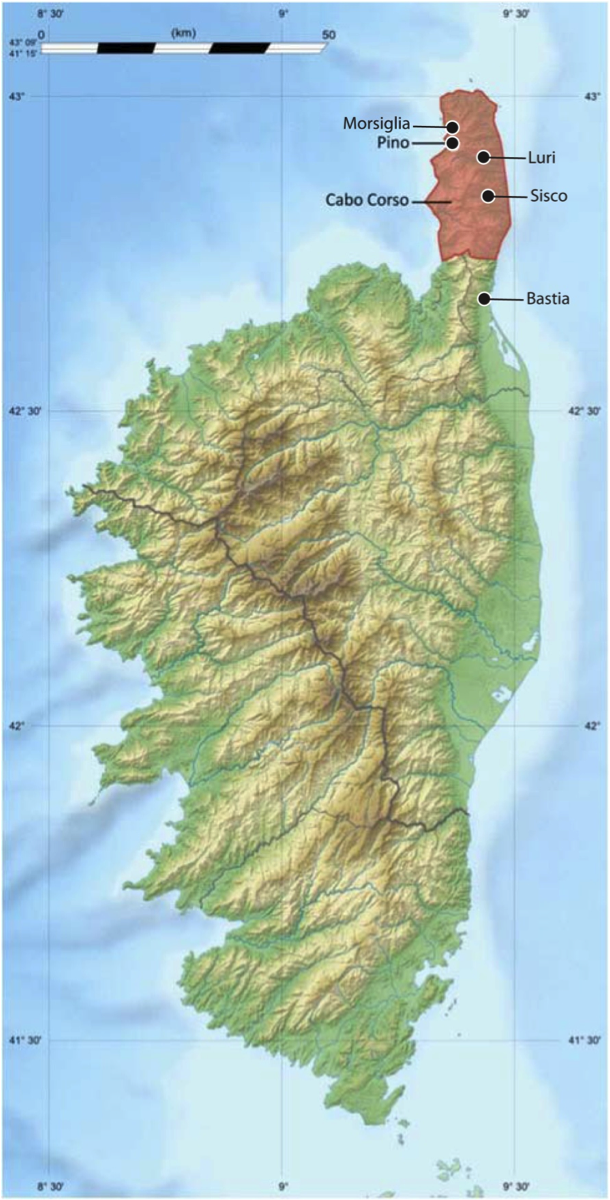 Map of the island of Corsica identifying the communities that were documented during my experience in PEC.