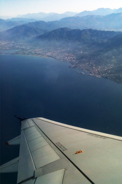 View from the airplane of the city of Bastia