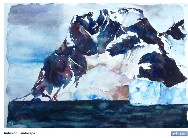 Are you sorry to see summer go?  Not ready to dream of polar landscapes? Meet Lisa Goren on Sunday October  5, 2-4PM at the Newburyport Art Association.  She will talk about her amazing watercolors of frozen landscapes and whale bones and her Artist residency on a tall ship above the Arctic Circle Lisa has dreamed of Polar Landscapes since she was in her teens. Her first trip took her to Antarctica where she was inspired and captivated by the landscape. She has traveled to Iceland and Alaska to increase her understanding of the Polar Regions. Her watercolors show an unfamiliar lands