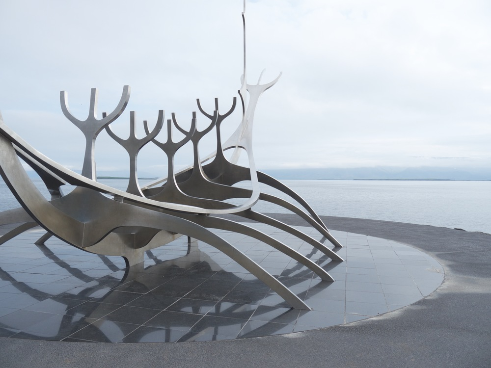 "Reykjavik, Iceland-""The Sun Voyager"" overlooking the sea. Sun Voyager is an ode to the sun: the promise of undiscovered territory, a dream of hope, progress and freedom."