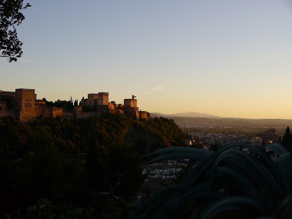 Granada, Spain- The Alhambra seen from the gipsy caves at sunset.