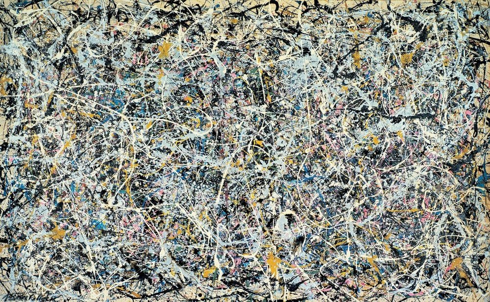 Number 1, 1949 was made with thinned paint and cans of commercial enamel. For it and other works of this period, Pollock rejected single points of reference and figural representation to create completely abstract all-over compositions.
