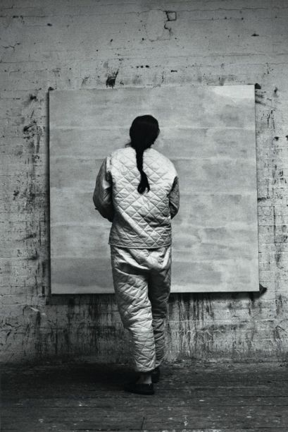 Agnes Martin in her studio (1960); photo by Alexander Liberman