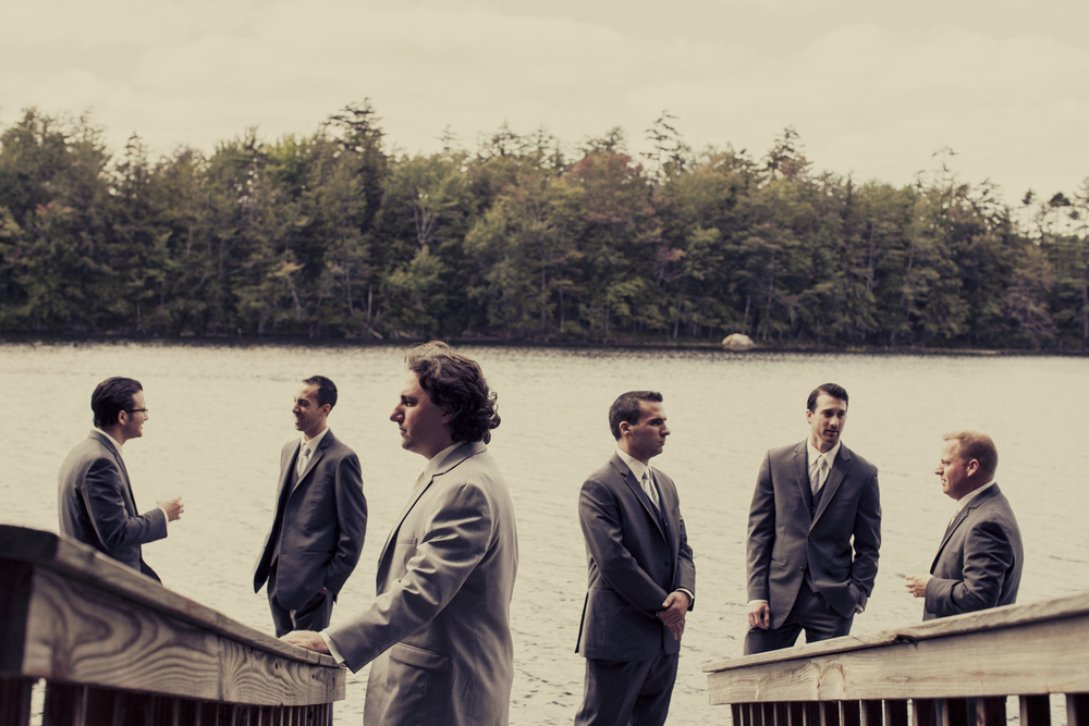 Mamie & Louis - Woodgate, NY - What can I say, I love groomsmen group shots.  Sometimes I do them and they feel pretty staged and sometimes they feel too casual.  I think what I love about this is that it looks super staged with Louis facing straight left, but also casual with the guys on the dock in the background.  It's a nice combo, real & fake, stiff and relaxed.  I also am fond of the railing leading down and the shore line across the lake just above their heads and the tree line above that.  It really sets the photo into 1/3s.  Loved getting to hangout with Louis before the wedding.  Not sure I've seen a groom quite so nervous before the wedding though!