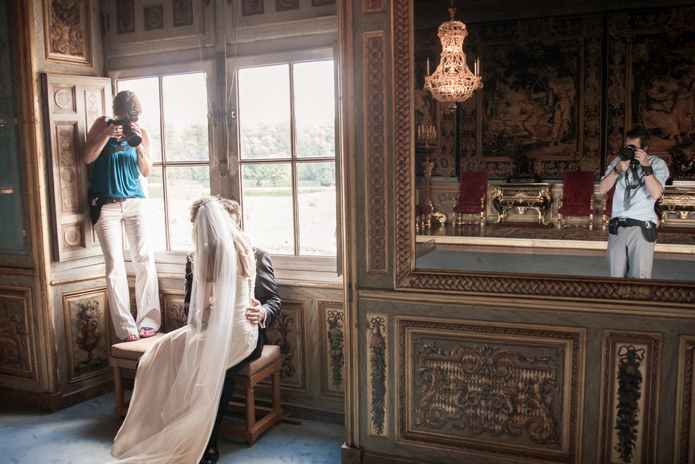 Katie and Kevin on the job in Paris, Château de Vaux-le-Vicomte