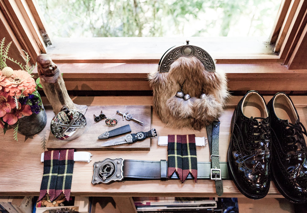 Justin's authentic Scottish accessories. Outlander, anyone?